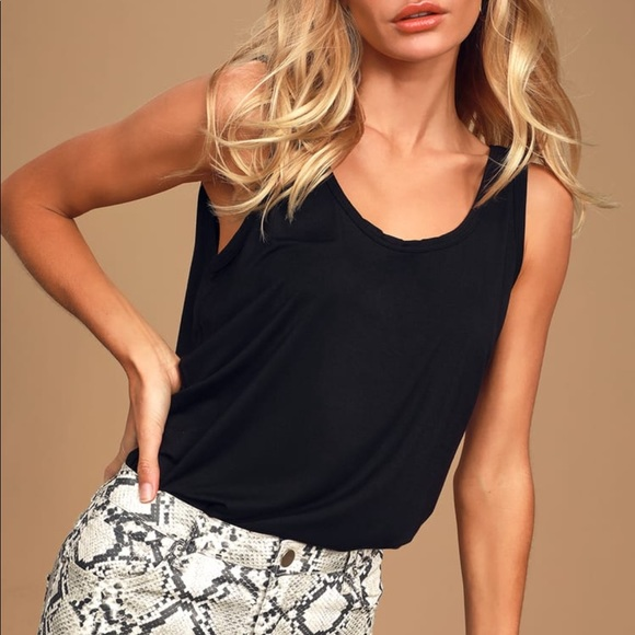 NWOT Lulus Simply Black Sleeveless Bodysuit
